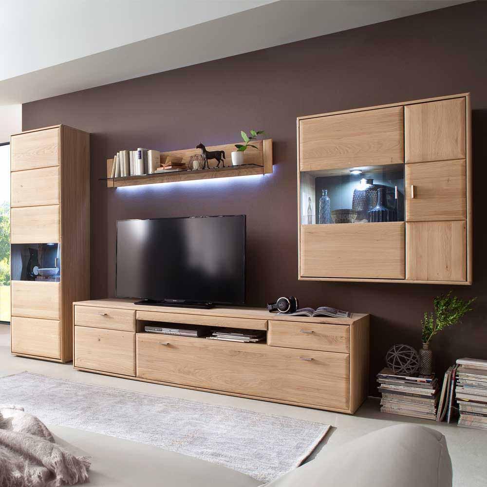 Wohnzimmer Wohnwand aus Eiche Bianco 330 cm breit (vierteilig)
