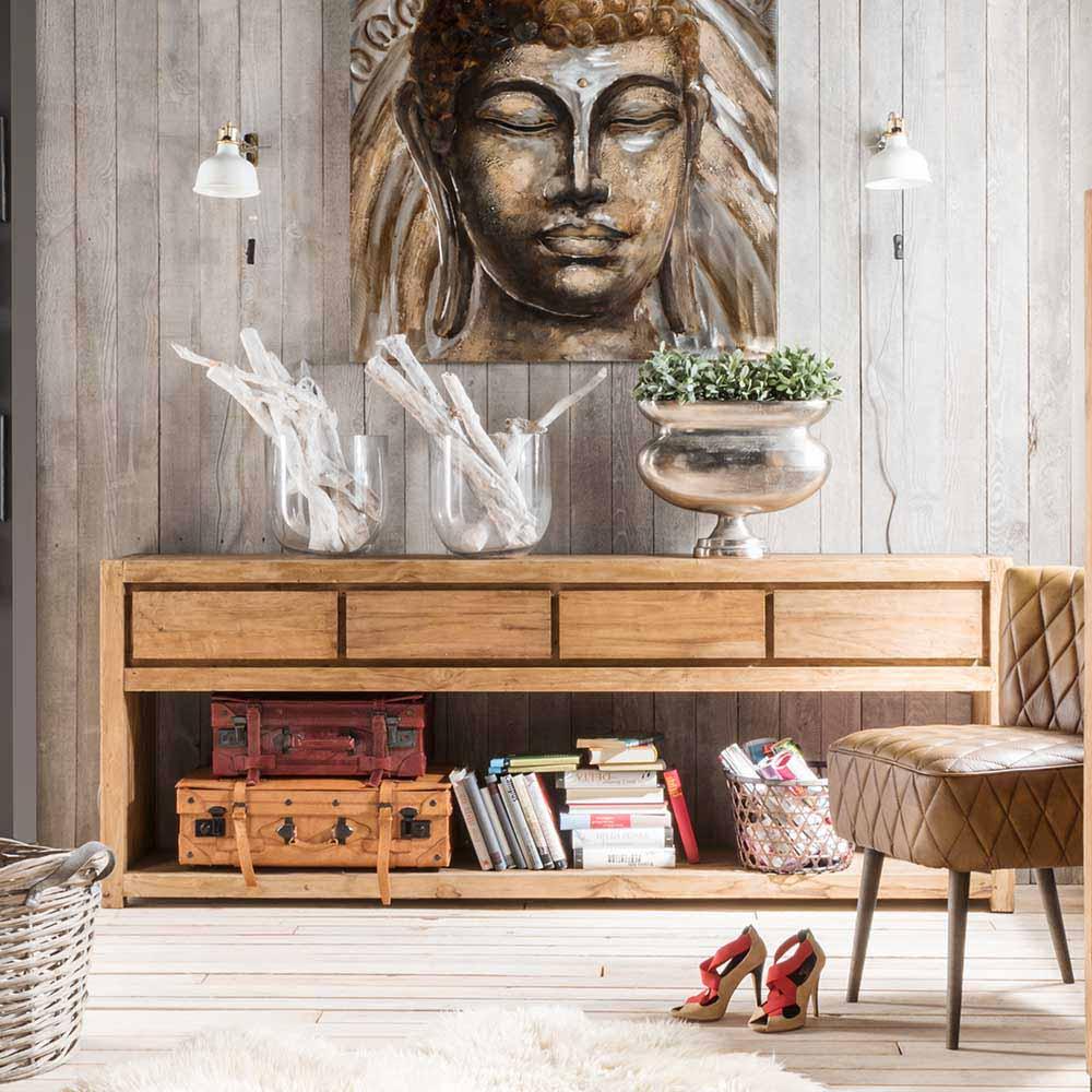 Flur Konsolentisch aus Teak Recyclingholz Landhaus rustikal | Wohnzimmer > Tische > Konsolentische | Wooding Nature