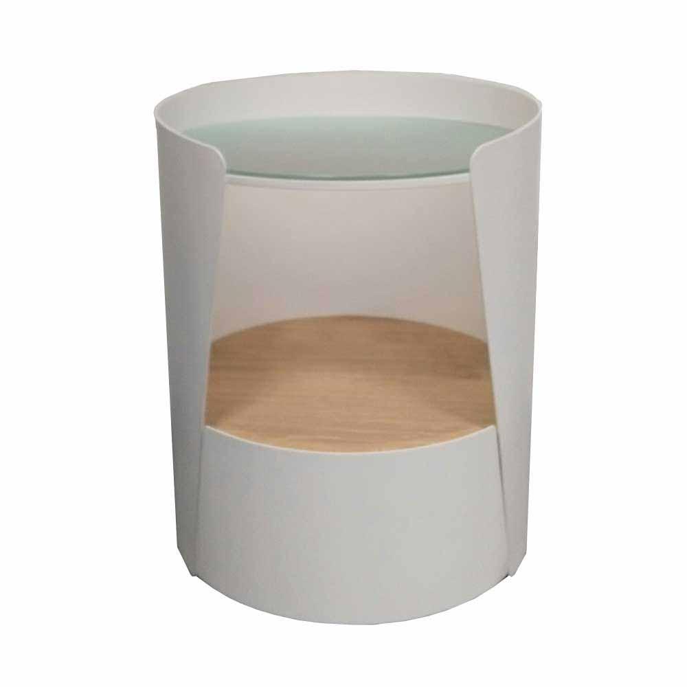 Nachttischkonsole in Weiß Eiche furniert Rund   Schlafzimmer > Nachttische   Weiß   Stahl - Glas - Metall - Lackiert   Violata Furniture