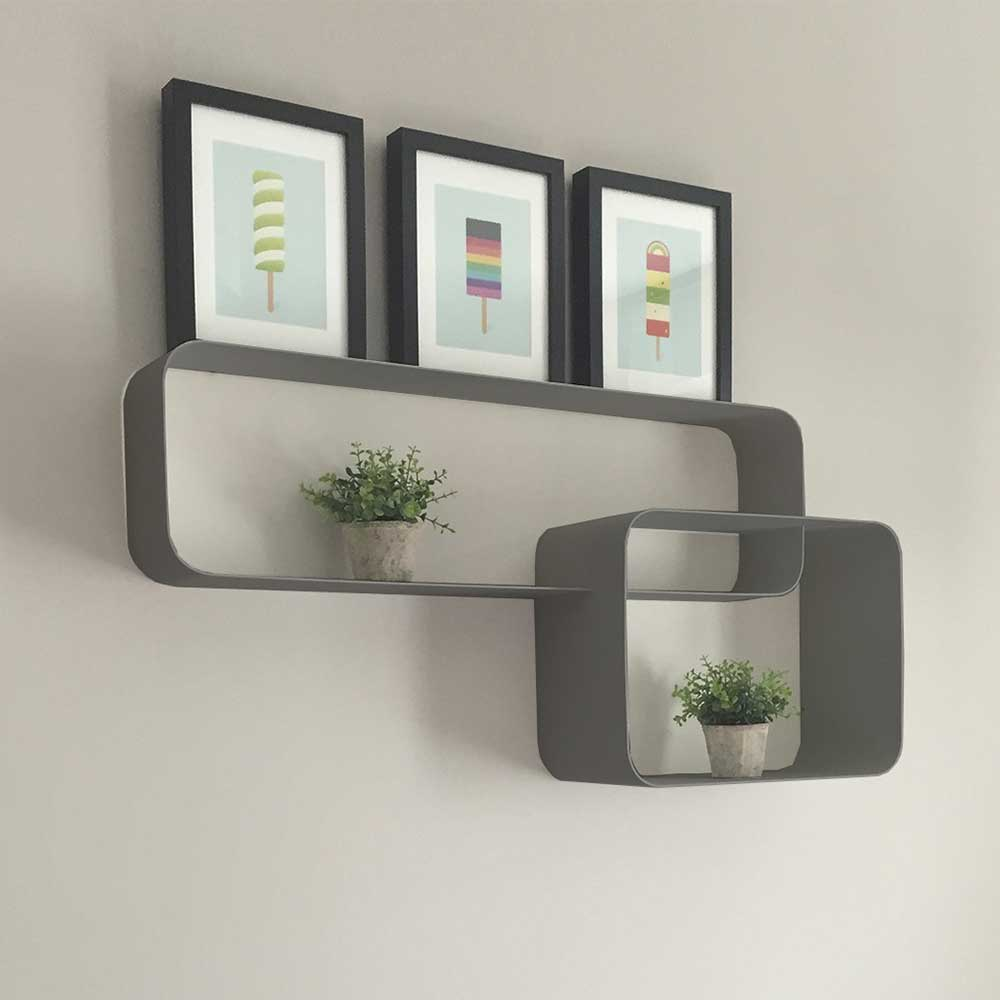 Metall Hängeregal in Grau modern