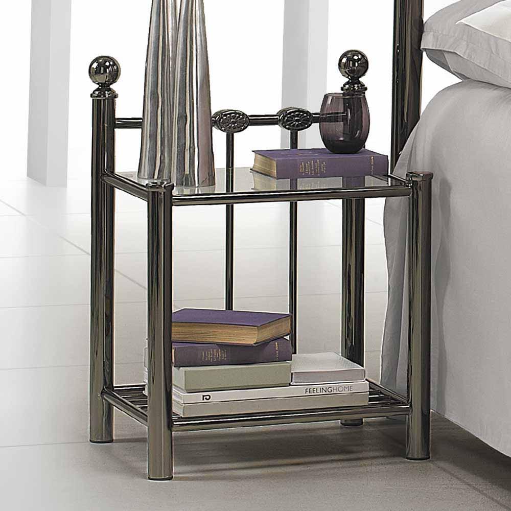 Nachttisch in Schwarz Nickel Glasplatte