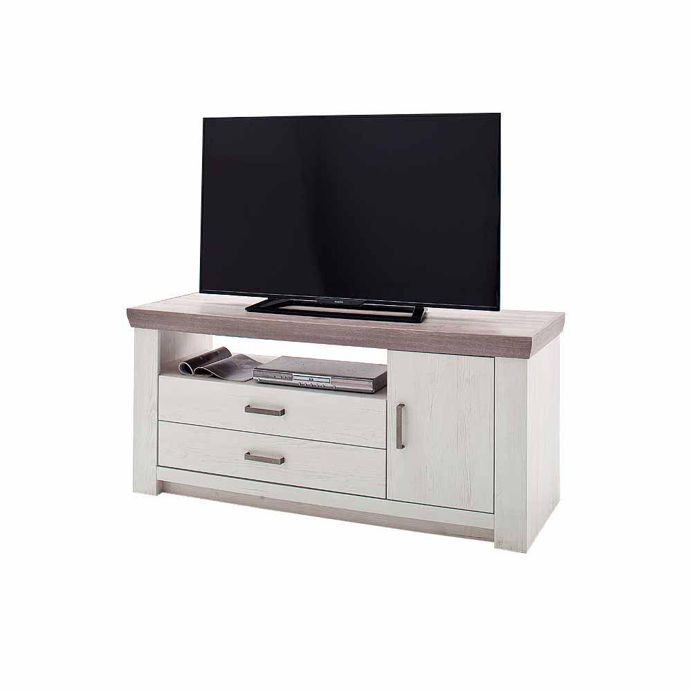 Fernsehmöbel in Pinie Weiß Eiche