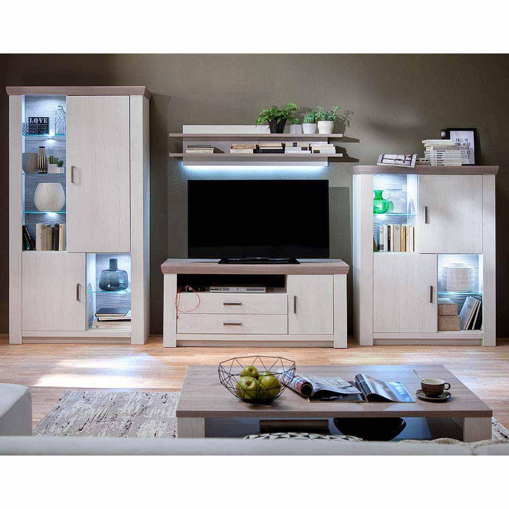 Wohnzimmer Wohnwand in Pinie Weiß Eiche LED Beleuchtung (vierteilig)