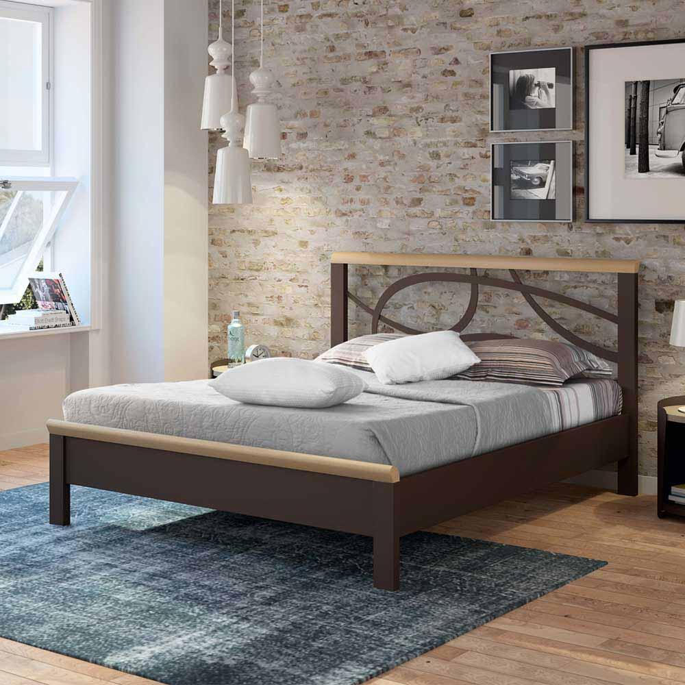 Metallbett in Braun Holz modern | Schlafzimmer > Betten > Metallbetten | Braun | Metall | Violata Furniture