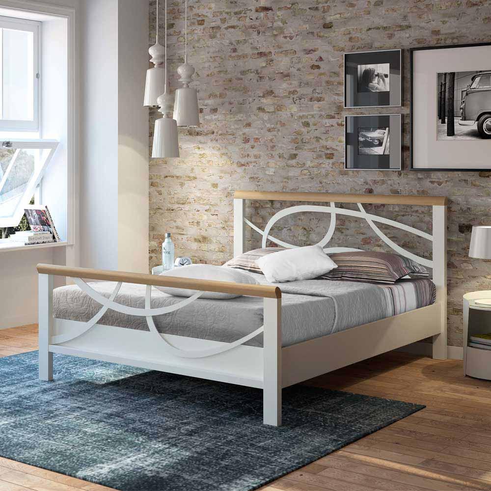 Metallbett in Weiß Eiche Massivholz | Schlafzimmer > Betten > Metallbetten | Weiß | Metall | Violata Furniture