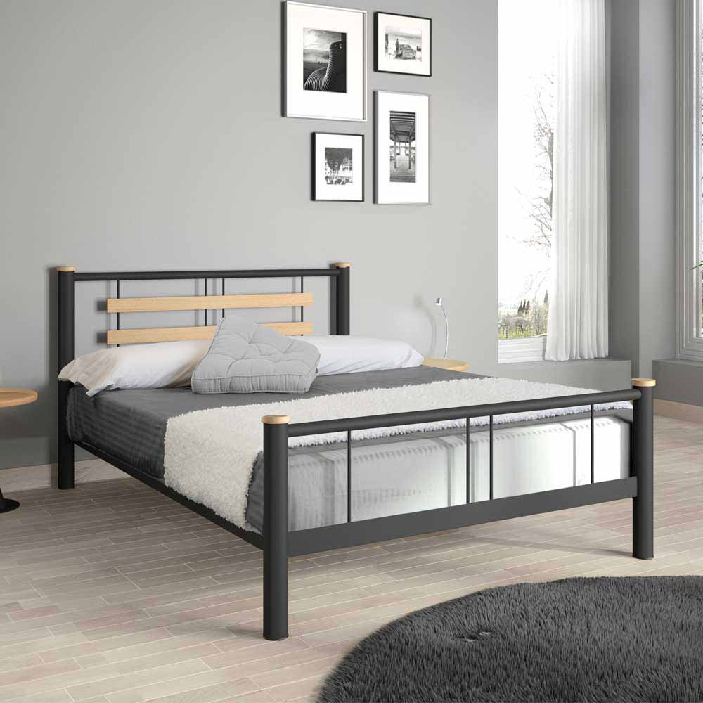 Jugendbett in Schwarz Metall Eiche Massivholz | Kinderzimmer > Jugendzimmer > Jugendbetten | Violata Furniture