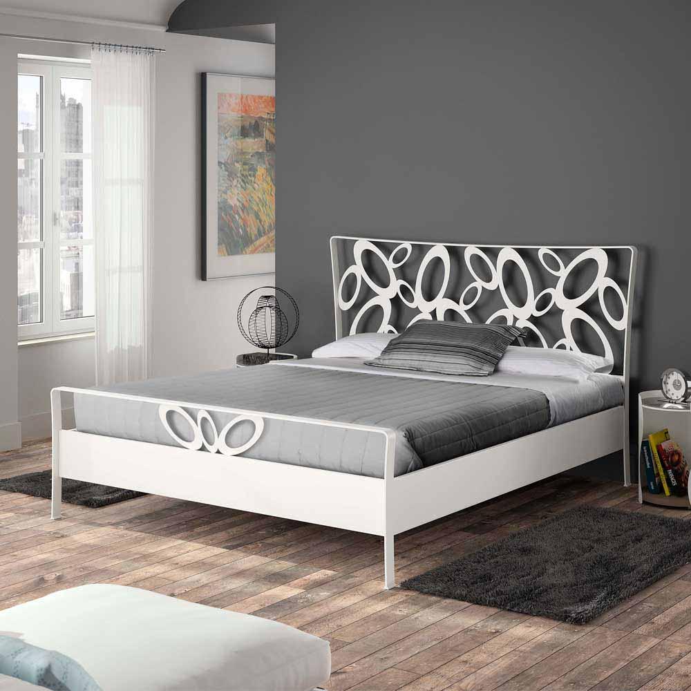Design Metallbett in Weiß modern