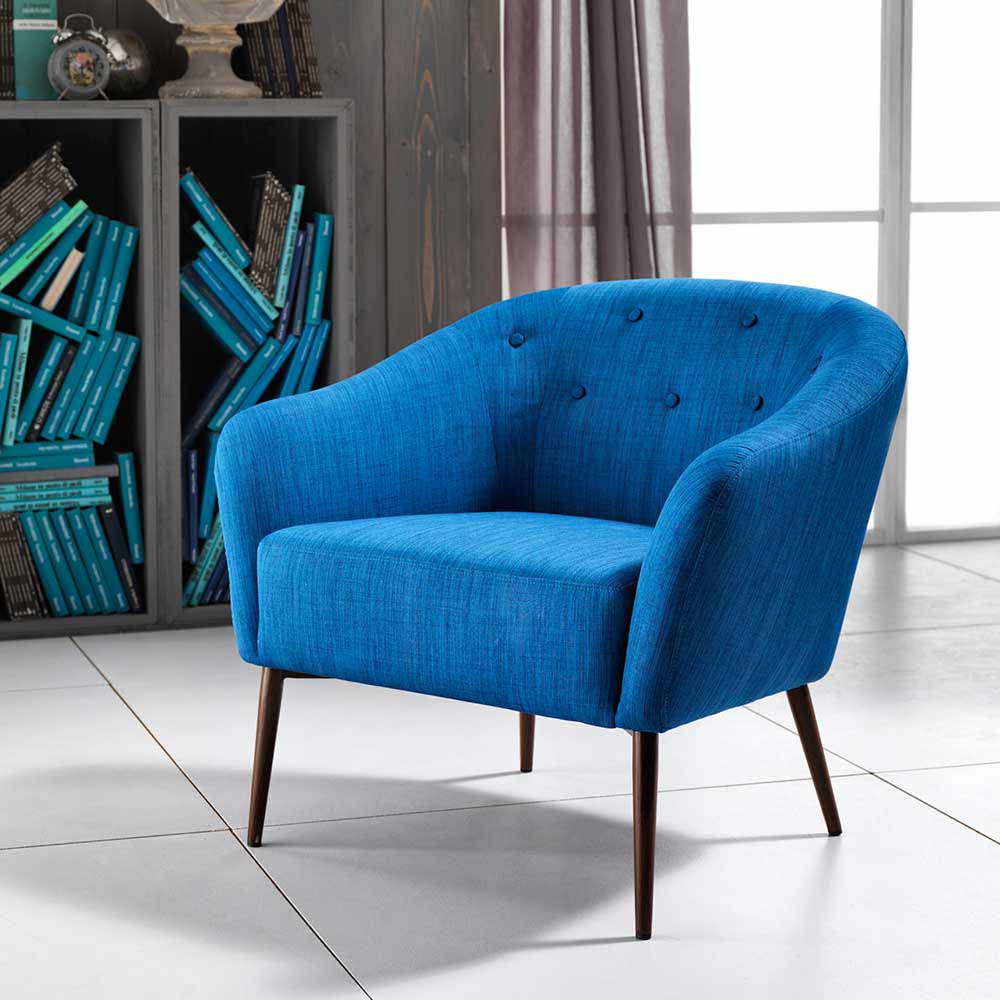 Retro Sessel in Blau Webstoff