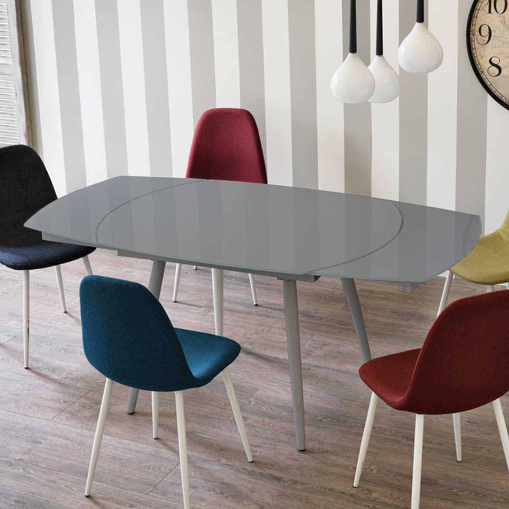 Design Küchentisch in Grau Glas abgerundet ausziehbar