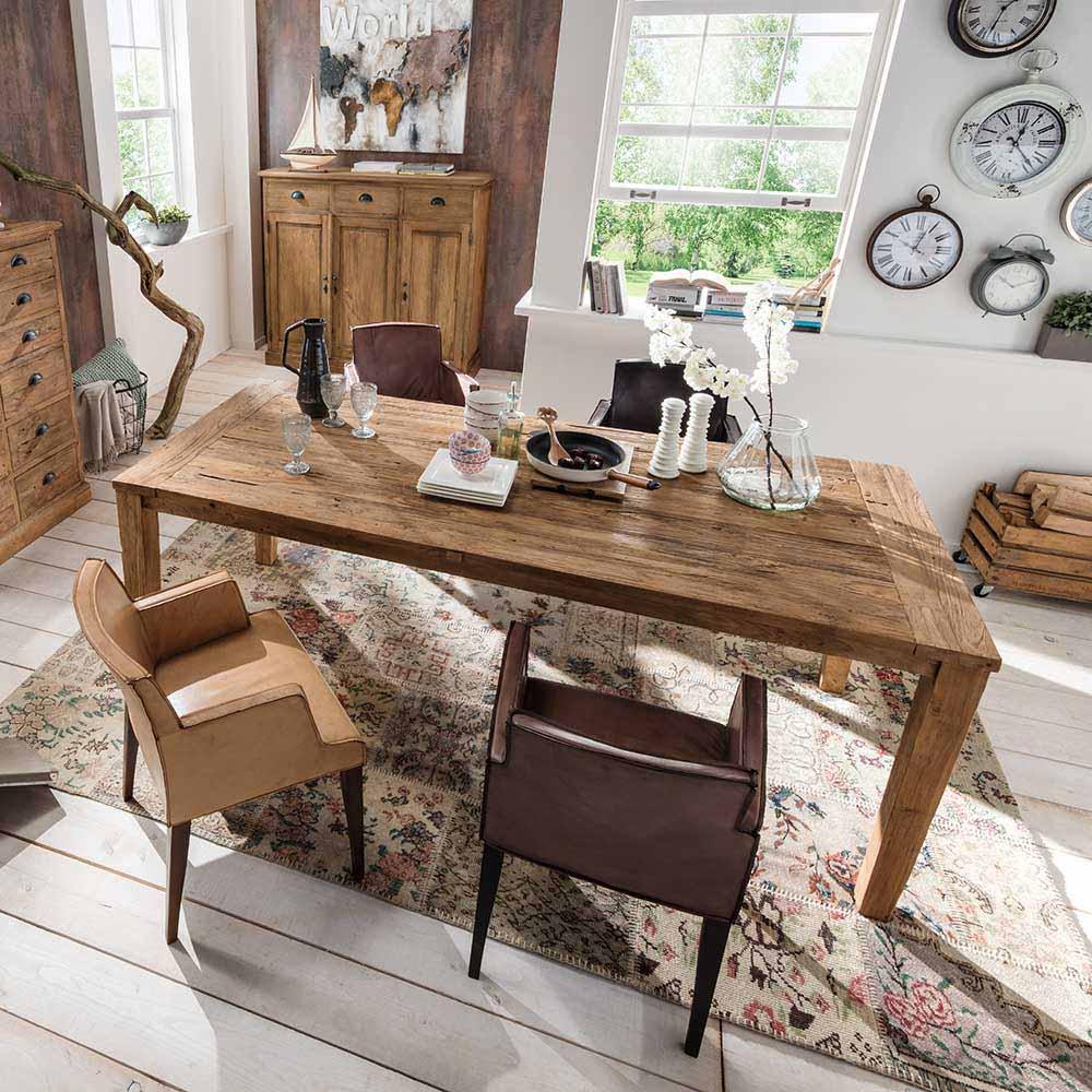 Esstisch aus Teak Massivholz Landhaus rustikal