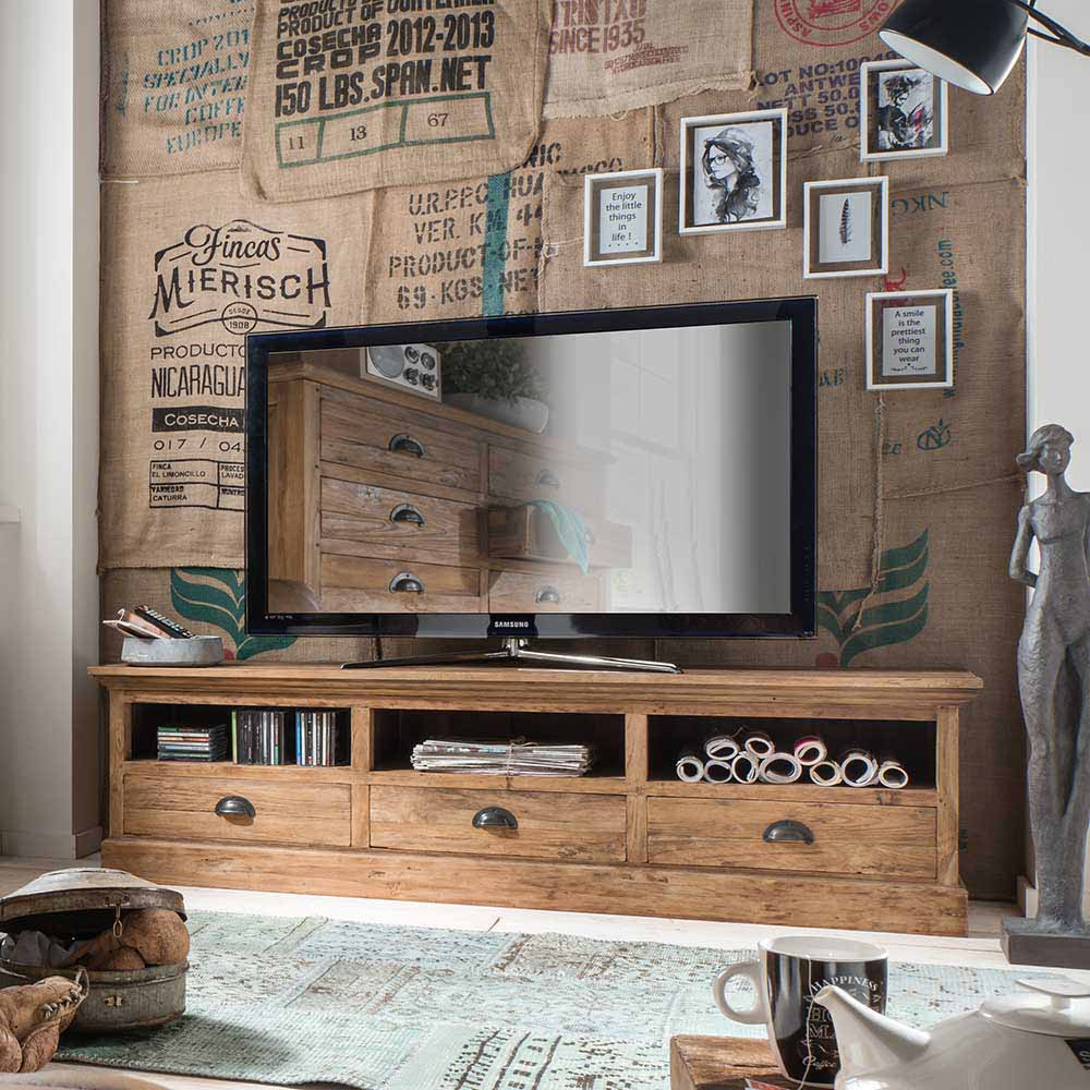 TV Unterschrank aus Teak Recyclingholz 180 cm