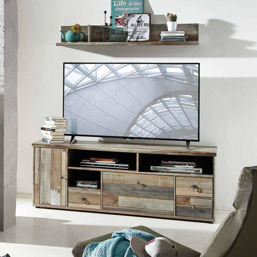 TV Board in Grau Treibholz Dekor Shabby Chic