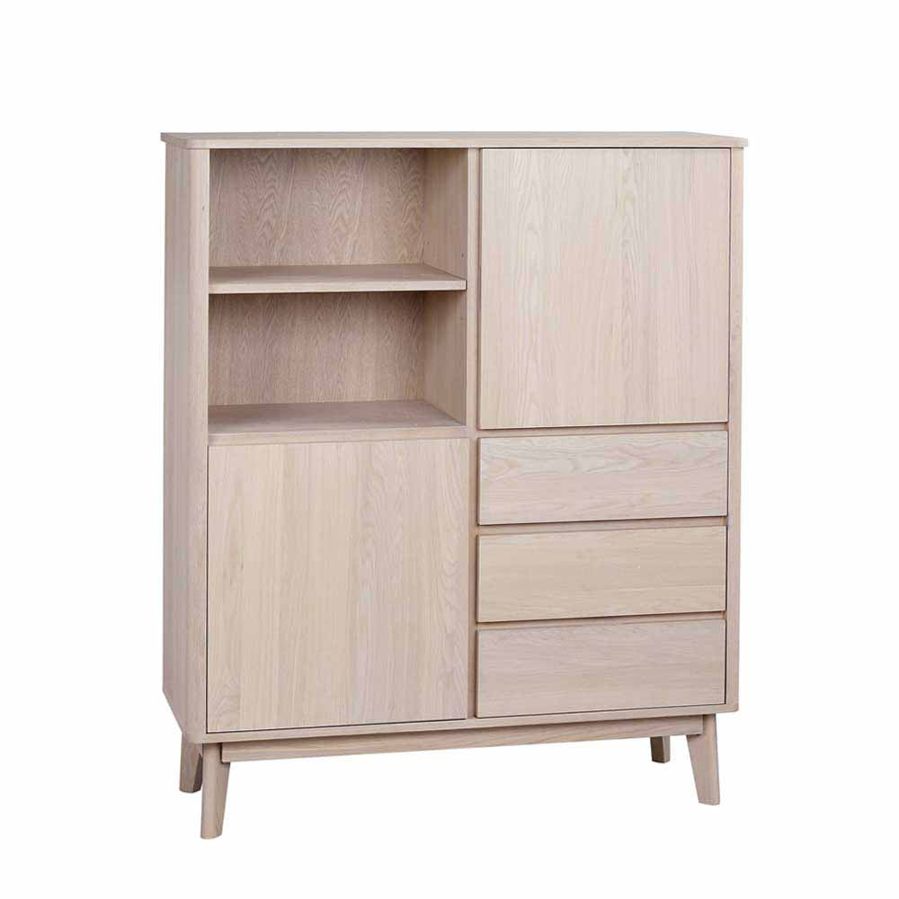 Highboard mit Eiche furniert White Wash