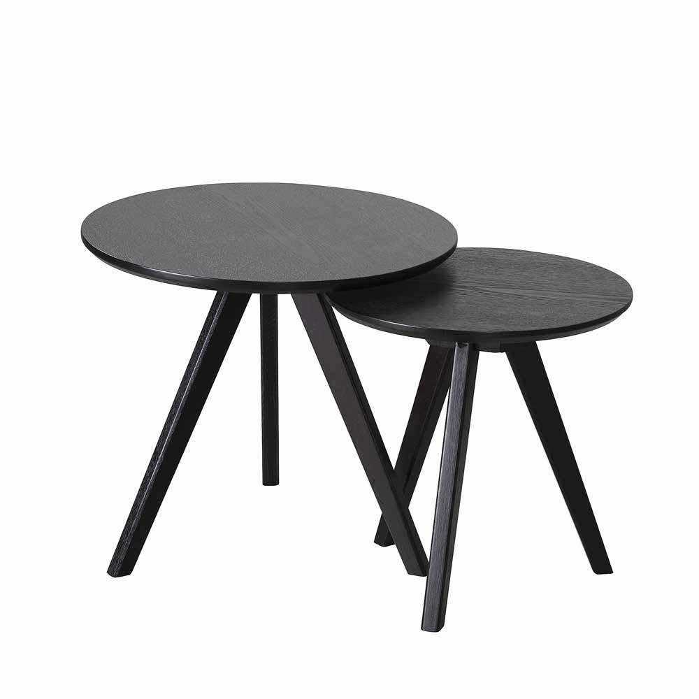Zweisatztisch in Schwarz Esche furniert Rund (2-teilig) | Wohnzimmer > Tische > Satztische & Sets | TopDesign