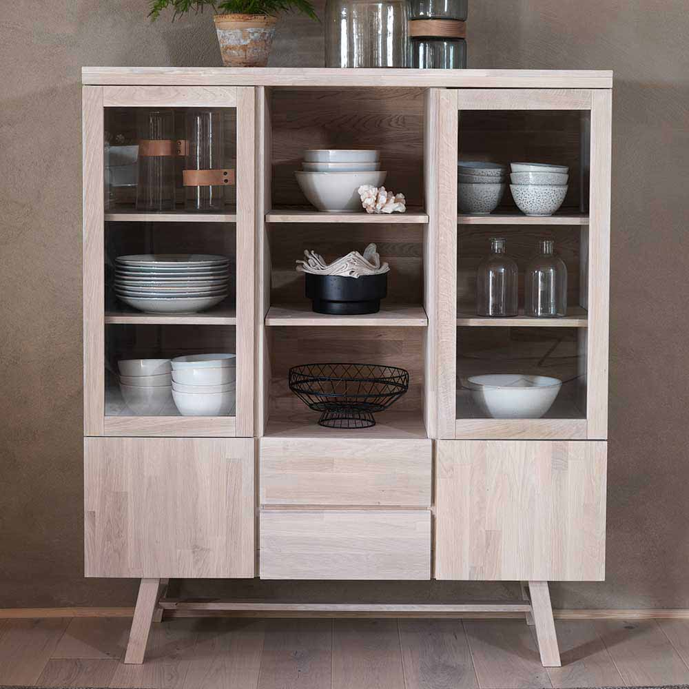 Highboard aus Eiche hell massiv Glas