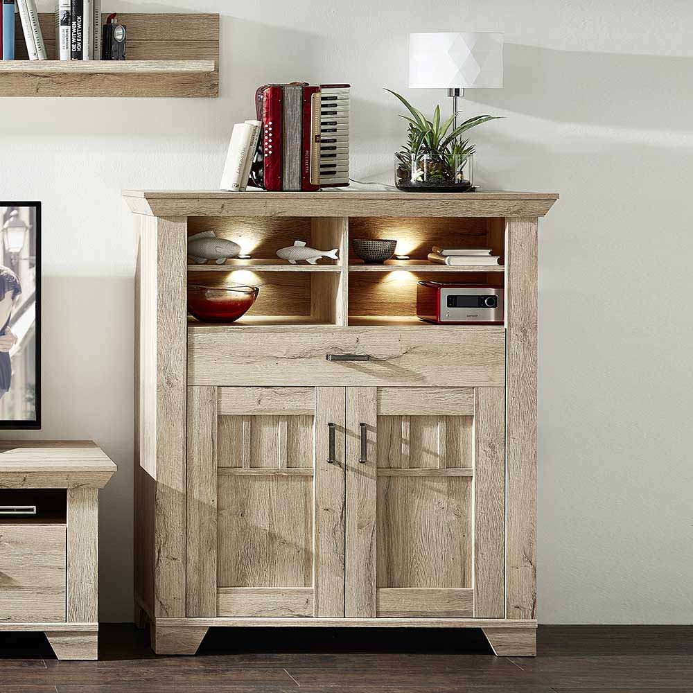 Highboard in Eiche hell LED Beleuchtung