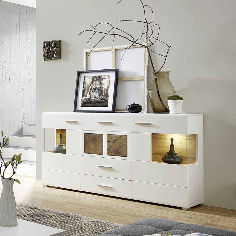 Design Sideboard in Weiß Holz Dekor LED Beleuchtung