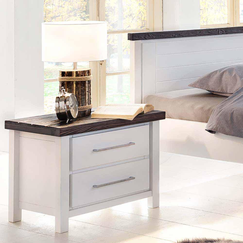 Nachtkonsole in Weiß lasiert Braun Kiefer massiv | Schlafzimmer > Nachttische | Weiß | Kiefer - Massivholz - Gewachst - Lasiert | Natura Classico