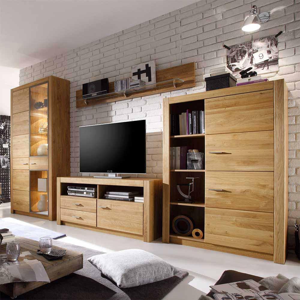 Wohnkombination aus Asteiche geölt 200 cm hoch (4-teilig)   Wohnzimmer > Schränke > Wohnwände   Natura Classico