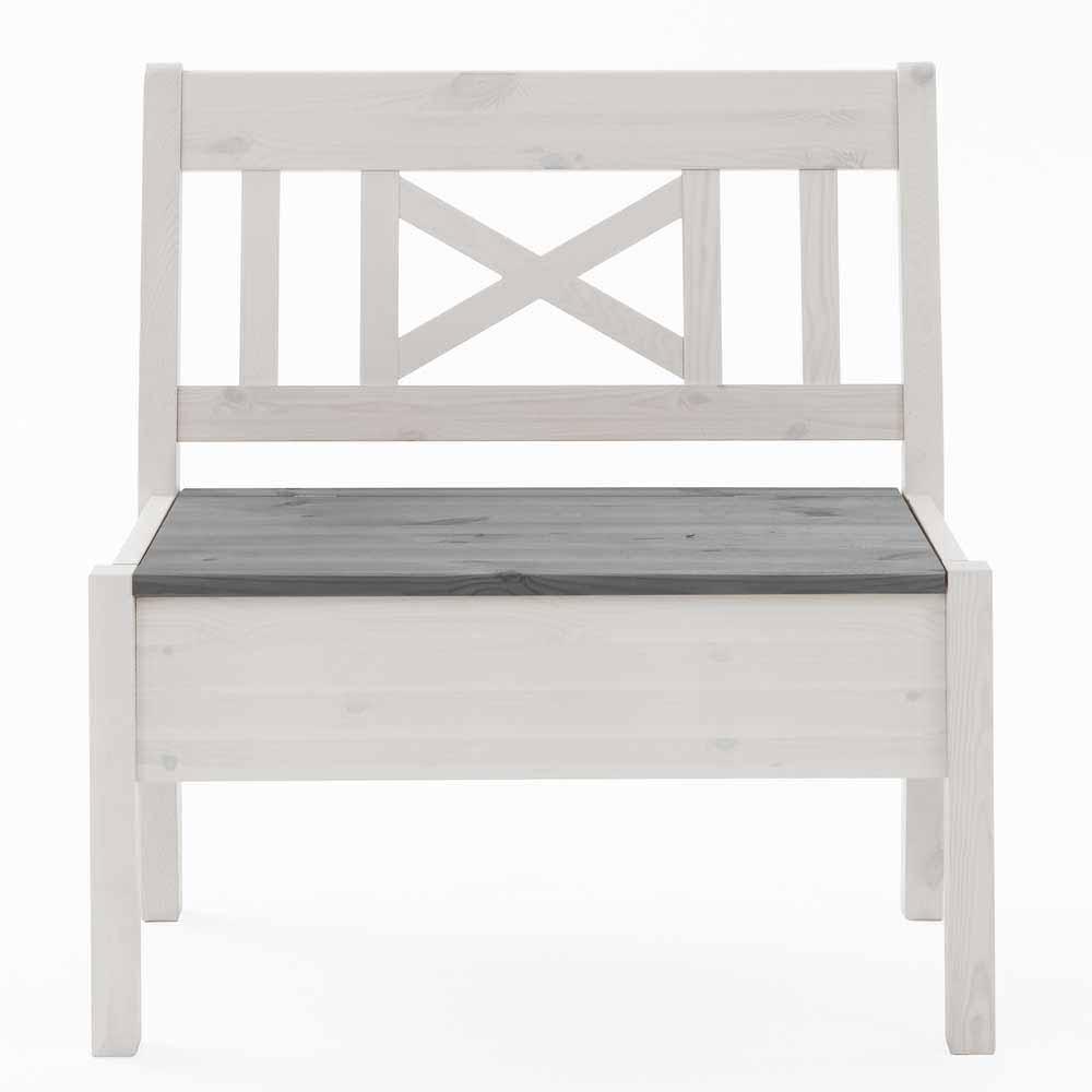 Truhenbank in Weiß Grau Kiefer Massivholz | Küche und Esszimmer > Sitzbänke > Truhenbänke | Weiß | Massivholz | Life Meubles
