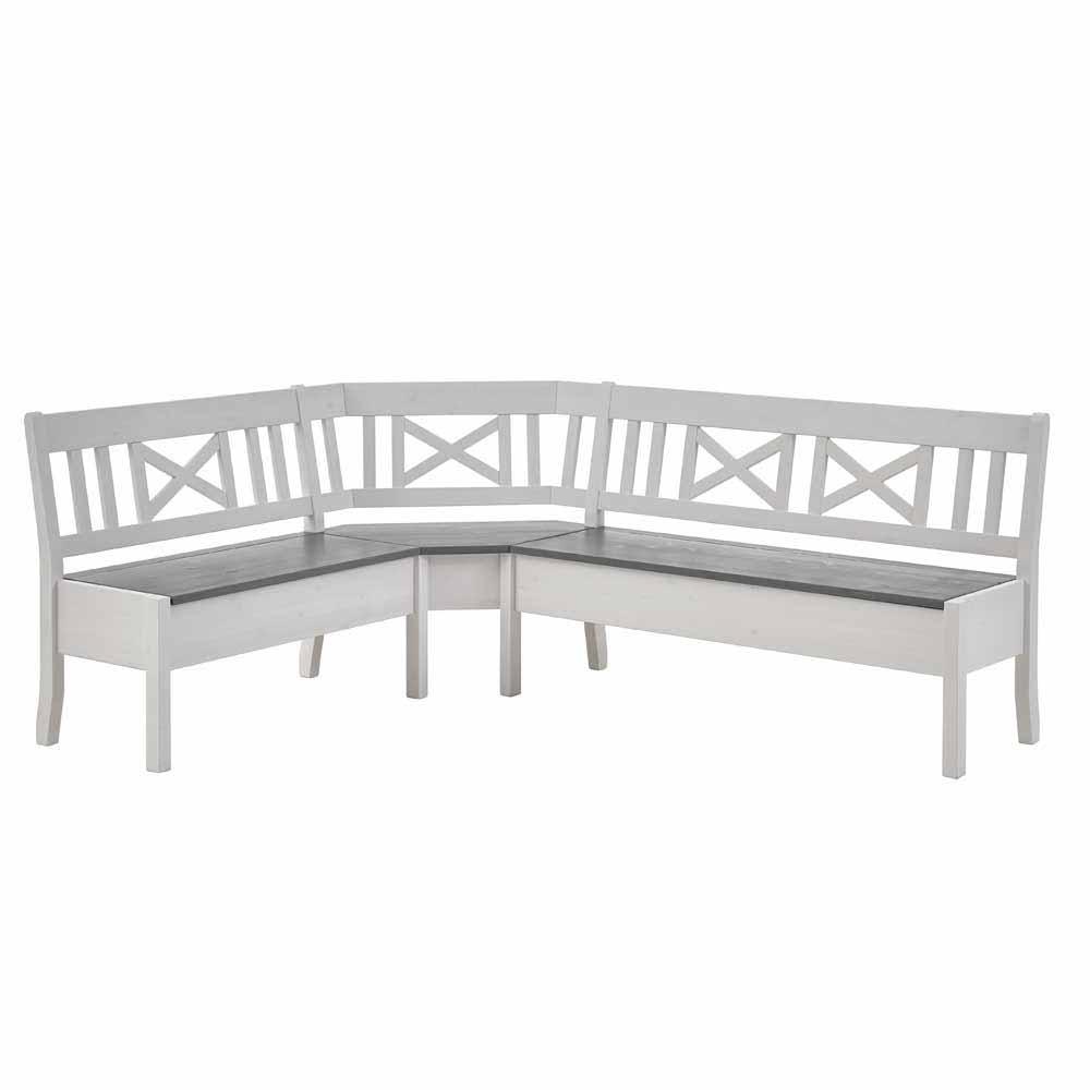 Stauraum Eckbank in Weiß Grau Kiefer Massivholz | Küche und Esszimmer > Sitzbänke > Eckbänke | Life Meubles