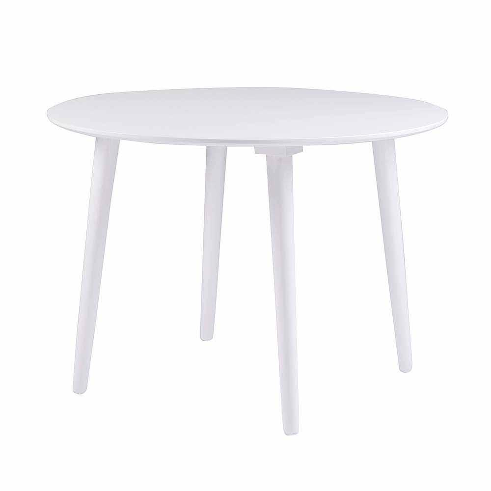 Esszimmertisch in Weiß rund Holz massiv