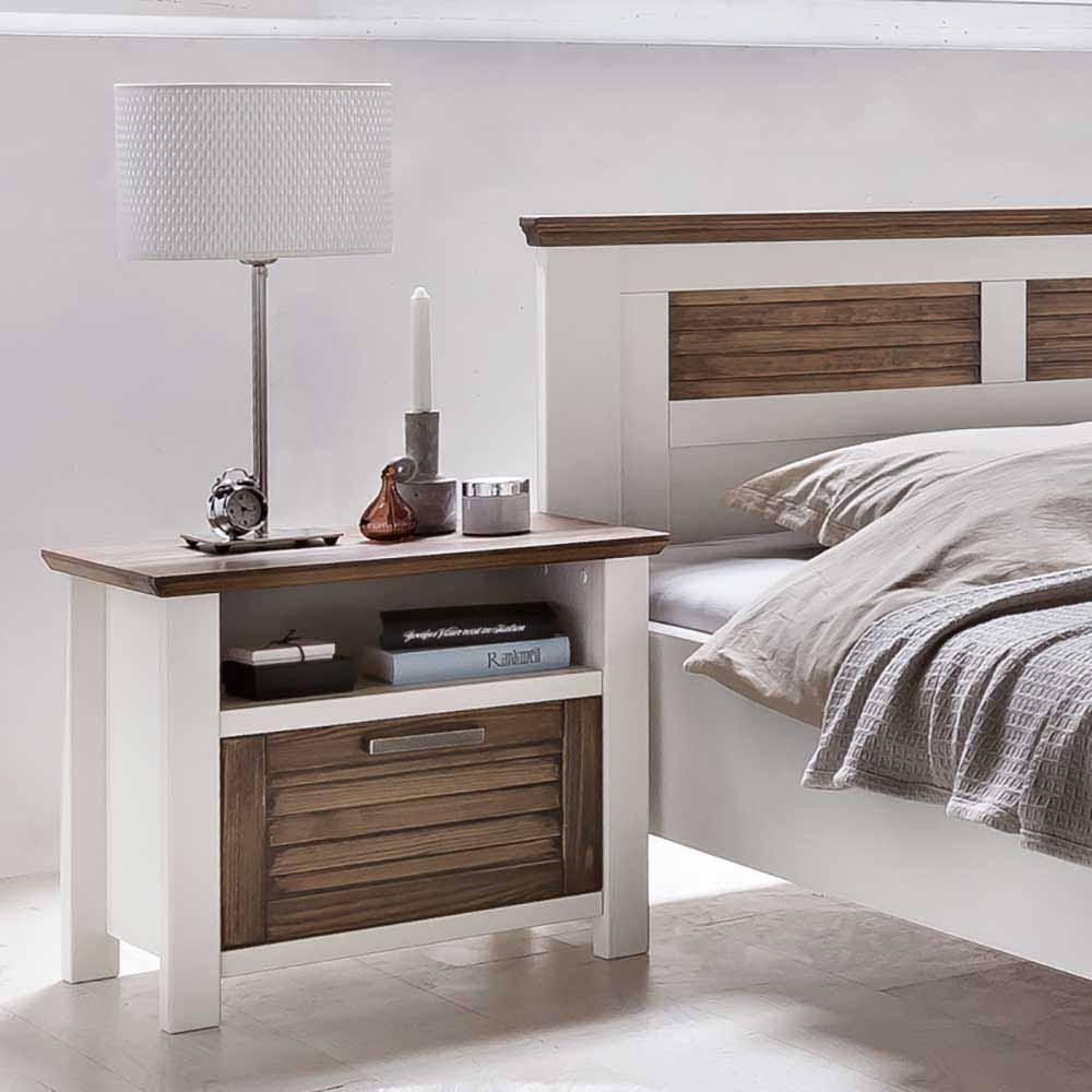 Nachttisch in Weiß Braun 60 cm breit | Schlafzimmer > Nachttische | Weiß | Kiefer - Massivholz - Spanplatte - Lackiert - Holz | Nature Dream