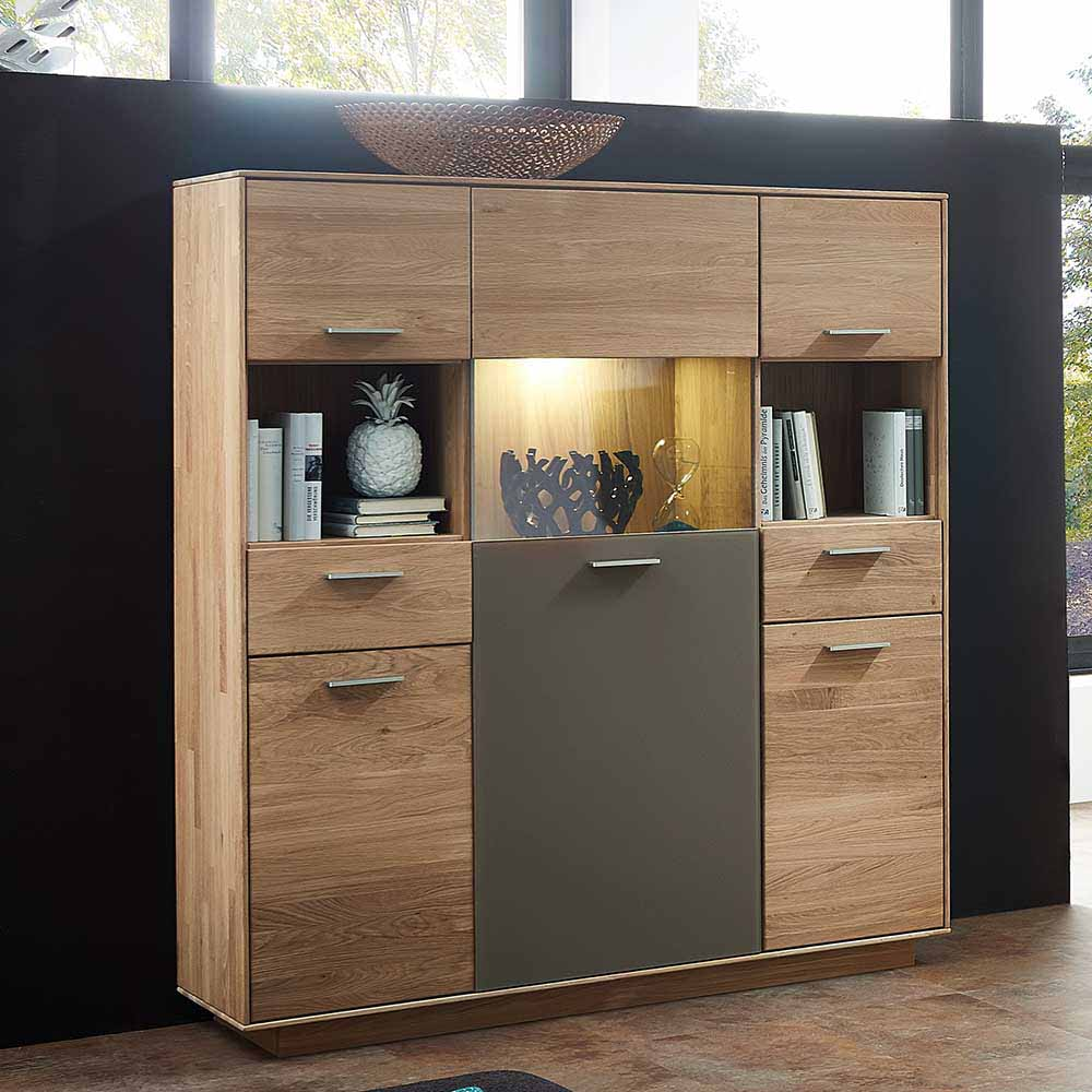 Highboard aus Wildeiche Massivholz Grau Glas