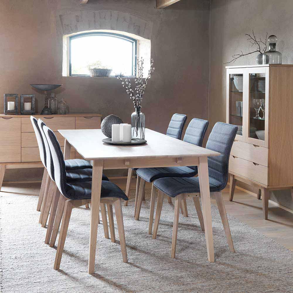 Esstisch mit Stühlen in Dunkelgrau Eiche White Wash (siebenteilig)