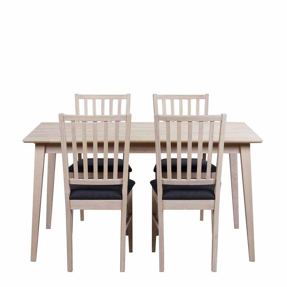 Esstisch mit Stühlen in Eiche White Wash Dunkelgrau ausziehbar (fünfteilig)