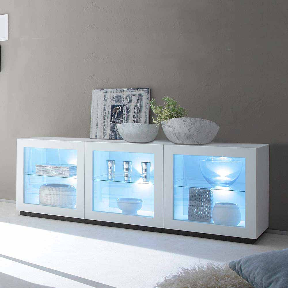 Glas Sideboard in Weiß LED Beleuchtung