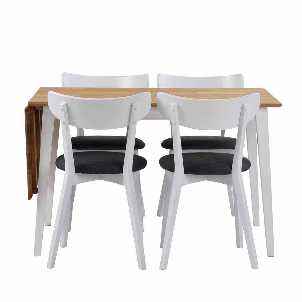 Esstisch mit Stühlen in Weiß Eiche massiv Grau Webstoff (fünfteilig)