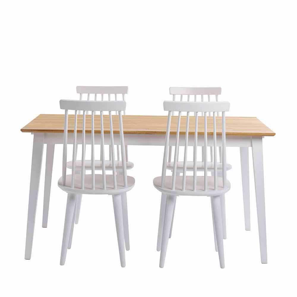 Esstisch mit Stühlen aus Holz massiv Eiche Weiß (fünfteilig)
