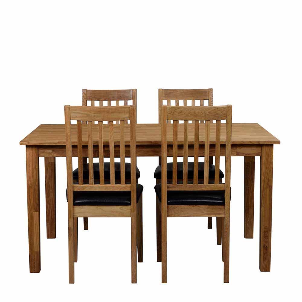 Essgruppe mit 4 Stühlen Eiche Massivholz (fünfteilig)