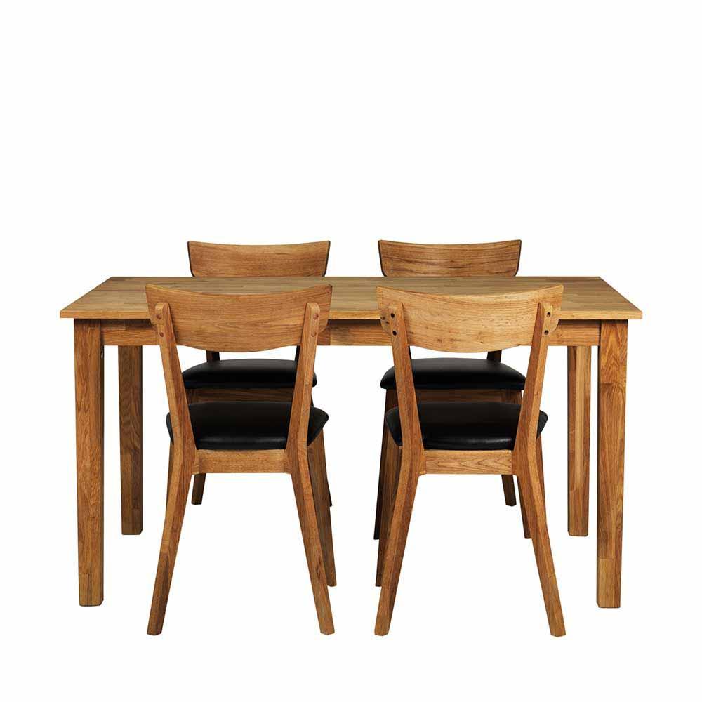4 Stühle und Esstisch aus Eiche Massivholz Kunstleder Schwarz (fünfteilig)