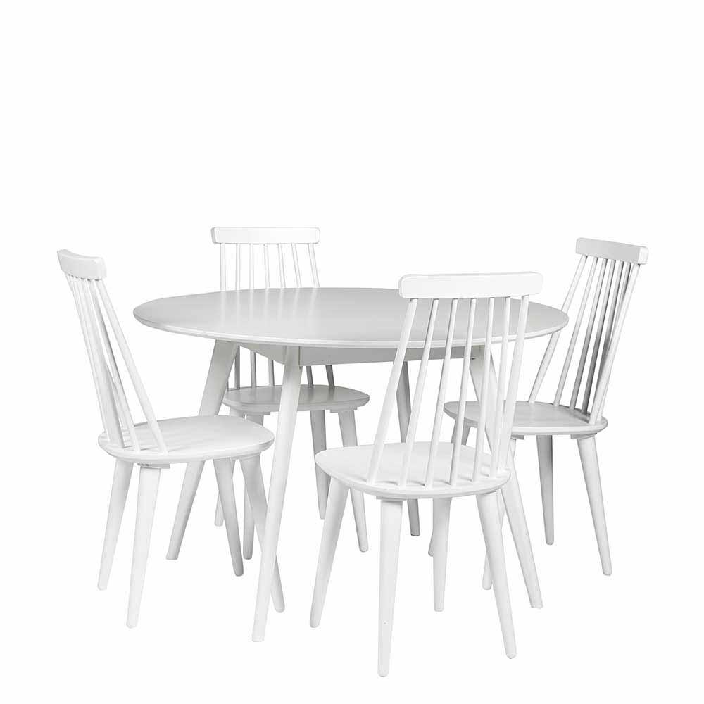 Essgruppe mit rundem Tisch skandinavisch Weiß (fünfteilig)