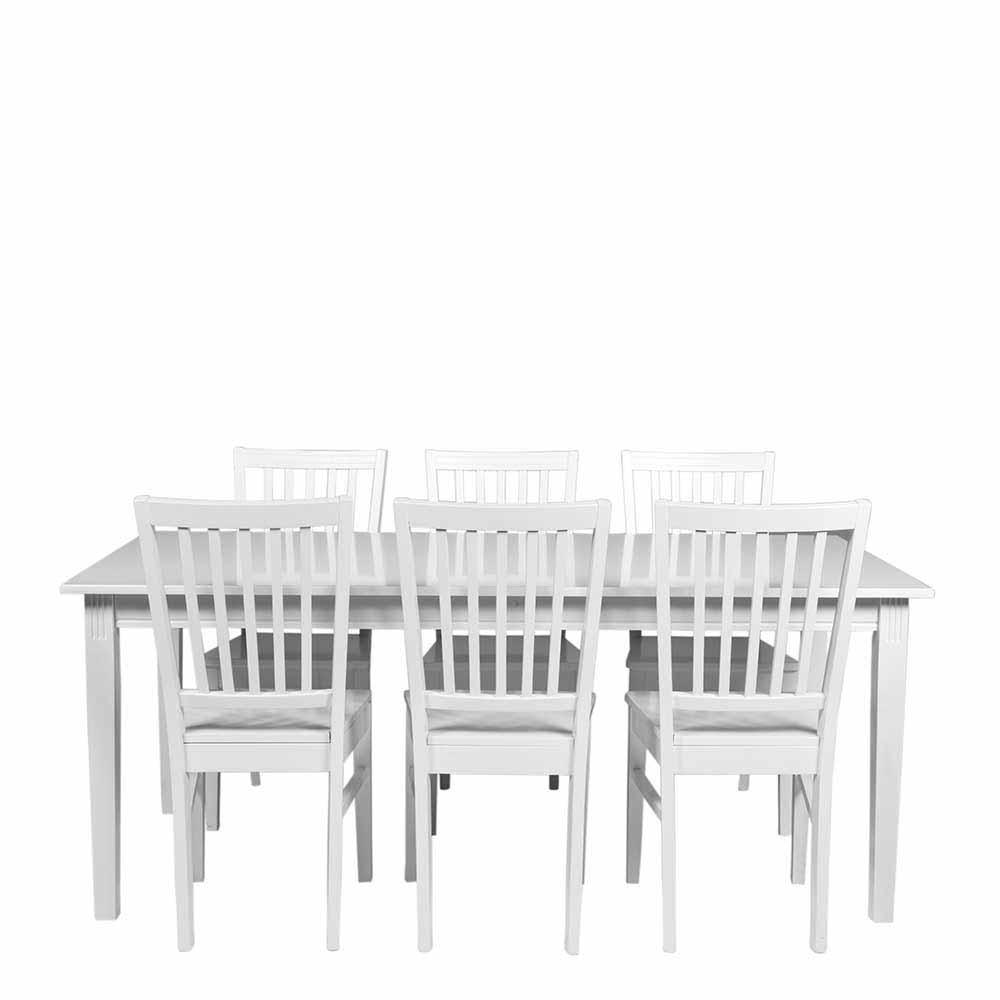 Esstisch mit Stühlen in Weiß im skandinavischen Landhausstil (siebenteilig)