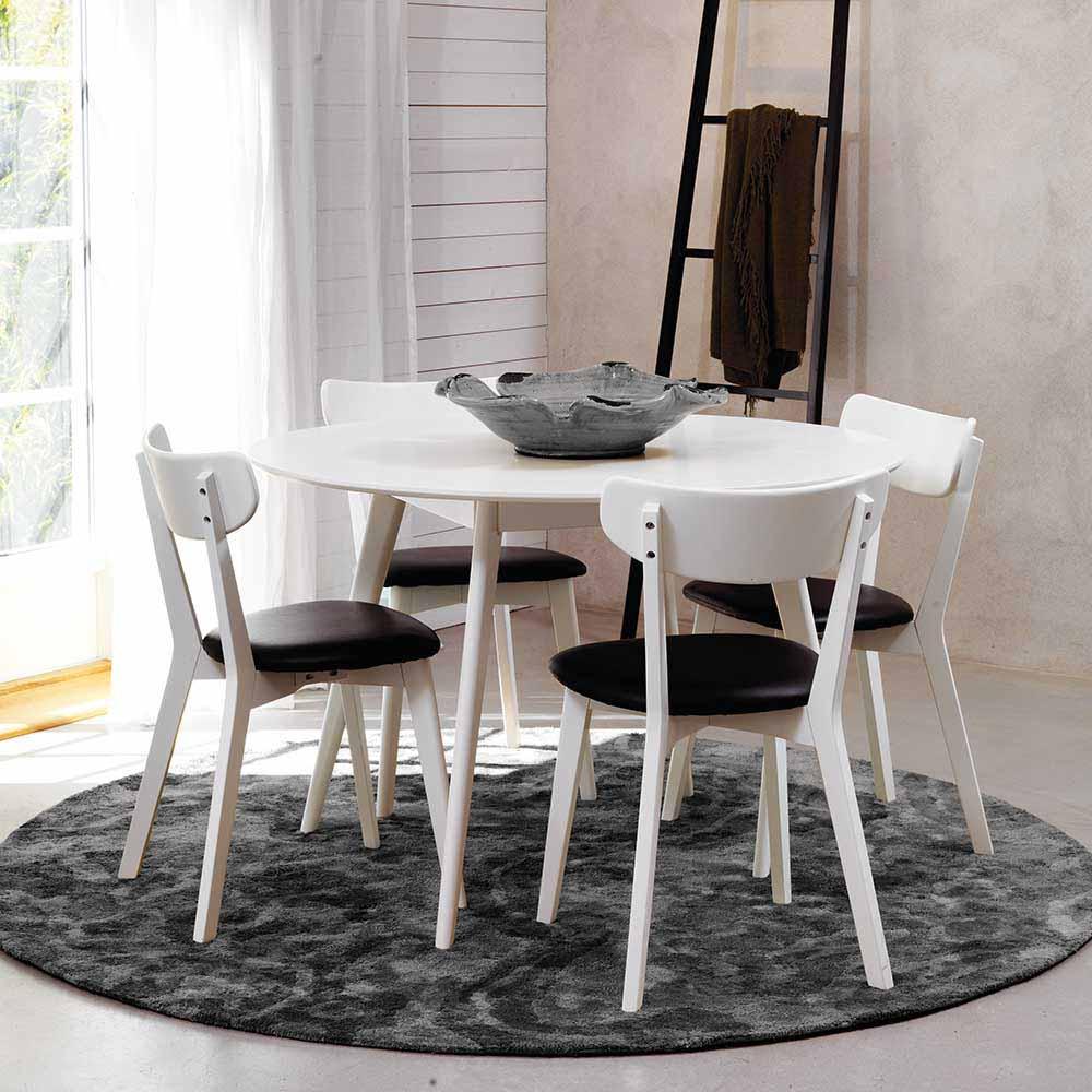 Esstisch mit Stühlen in Schwarz Weiß Eiche massiv (5-teilig)