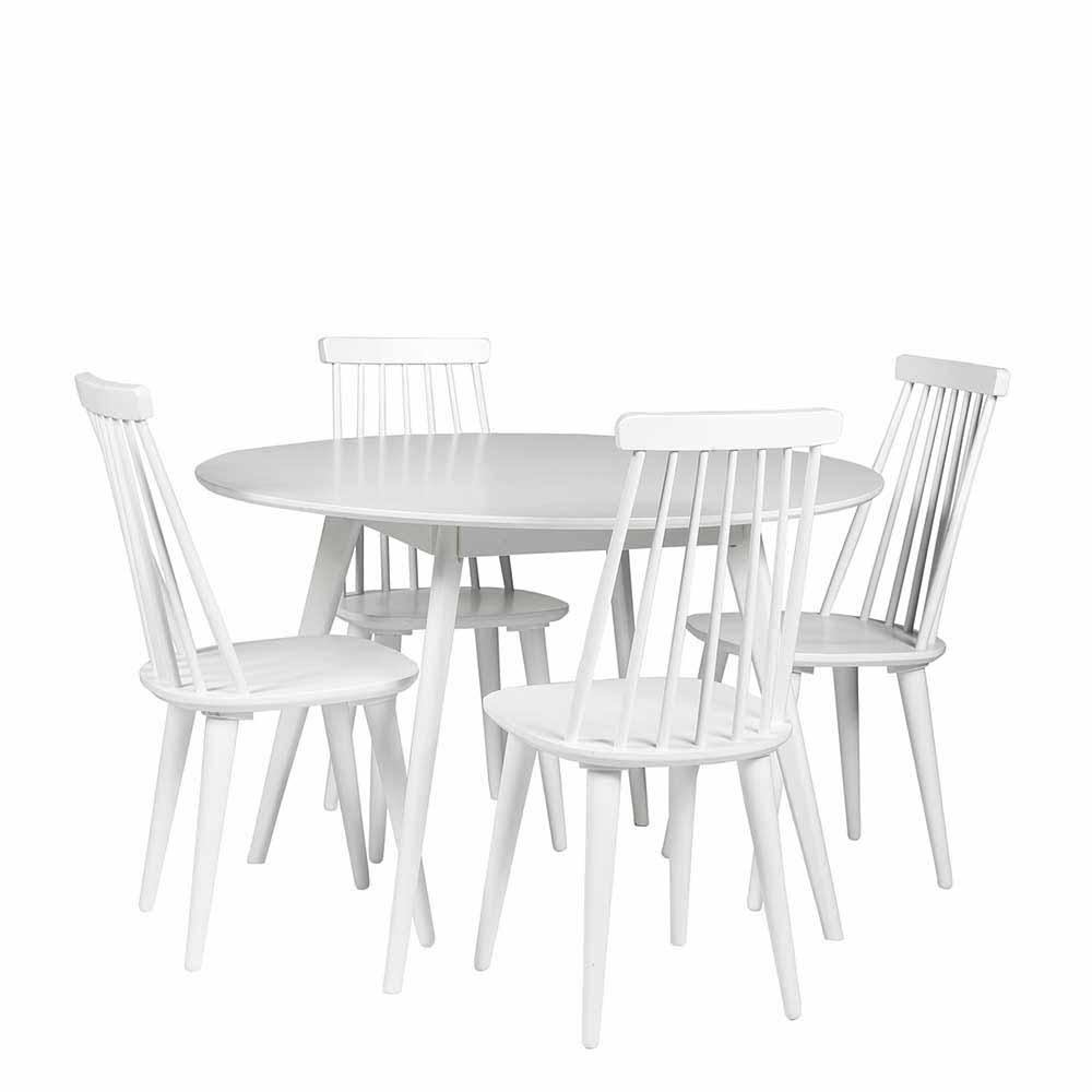 Esszimmergruppe in Weiß mit rundem Tisch (5-teilig)