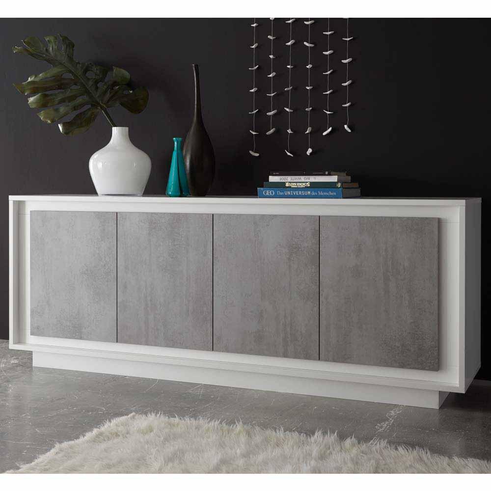 Türen Sideboard in Weiß Beton Grau