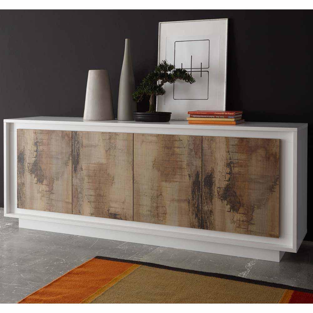 Wohnzimmer Sideboard in Weiß Birnenholz Dekor