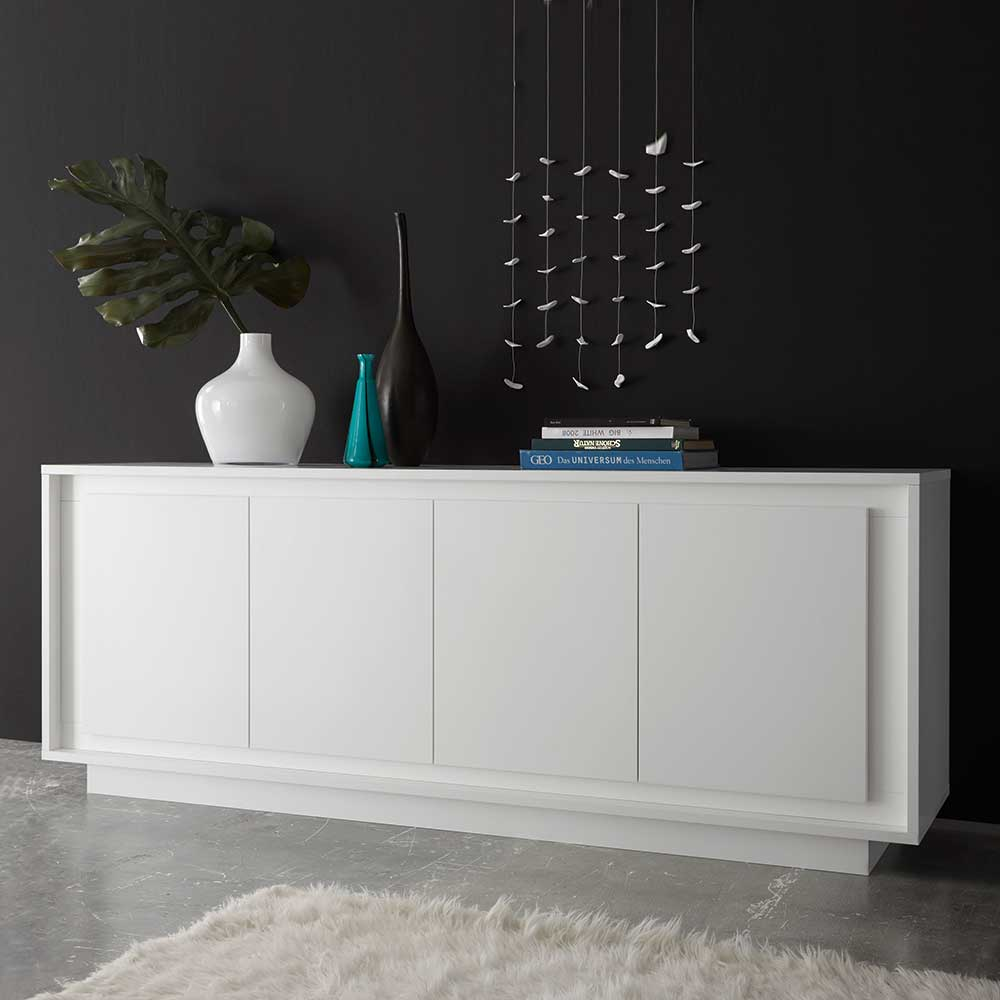 Wohnzimmer Sideboard in Weiß 80 cm hoch