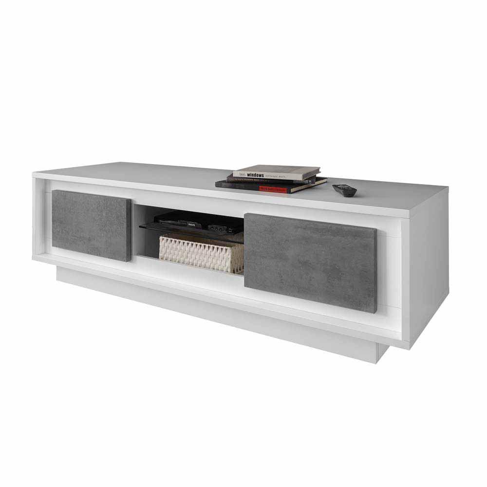 TV Lowboard in Weiß Beton Grau modern