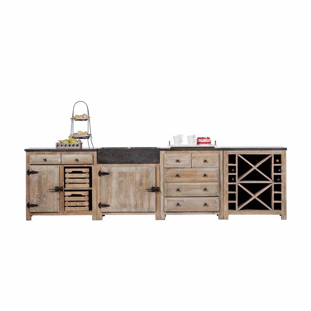 Küchenblock aus Kiefer Recyclingholz Rustikal (vierteilig)