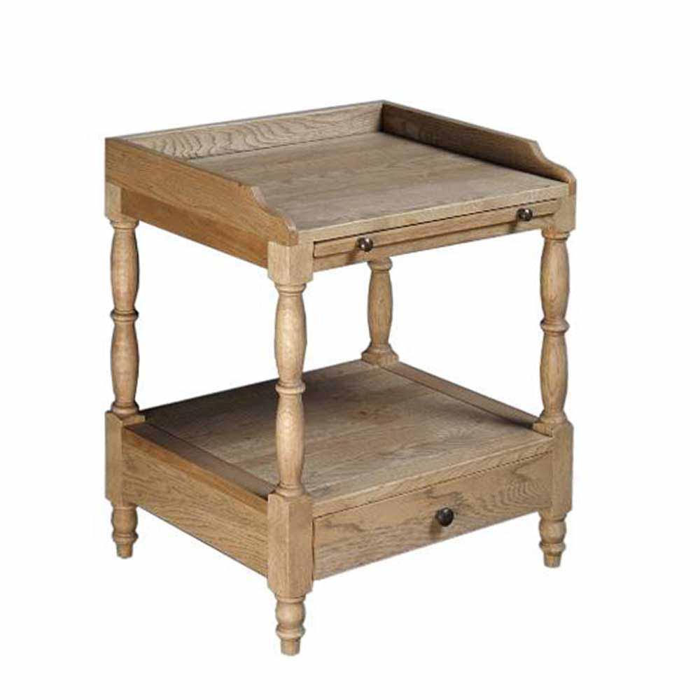 Vintage Nachttisch aus Eiche antik 50 cm breit | Schlafzimmer > Nachttische | Holzwerkstoff - Eiche - Massivholz - Holz | Stilando