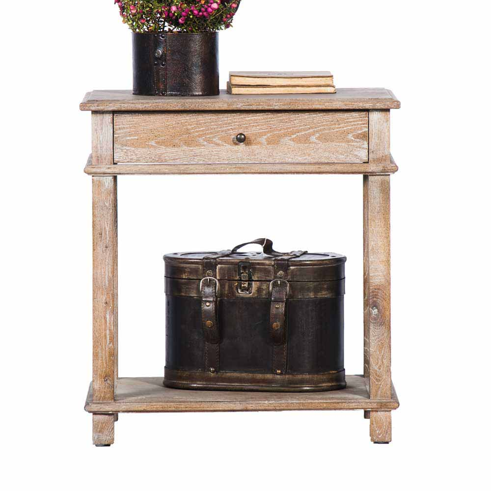 Nachttisch aus Eiche antik 60 cm | Schlafzimmer > Nachttische | Holzwerkstoff - Eiche - Massivholz | Stilando