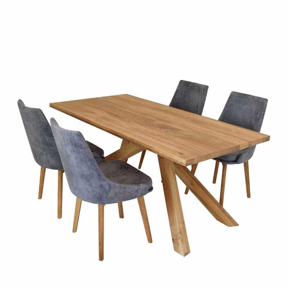 Esstisch mit Stühlen aus Wildeiche Massivholz Grau Microfaser (fünfteilig)