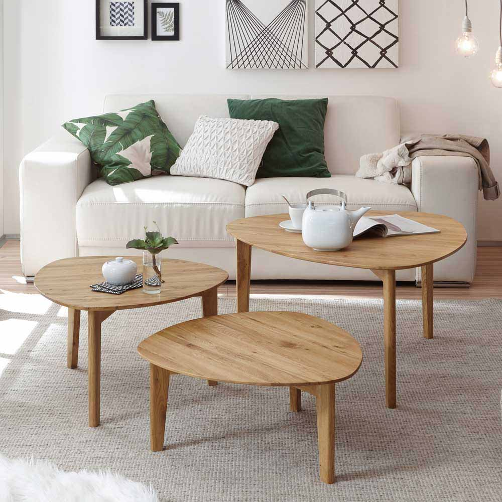 Couchtisch Set aus Eiche Massivholz dreieckig (dreiteilig)