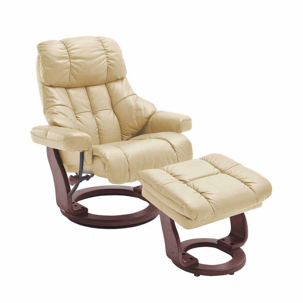 TV Sessel mit Relaxfunktion Creme Weiß Leder (zweiteilig)