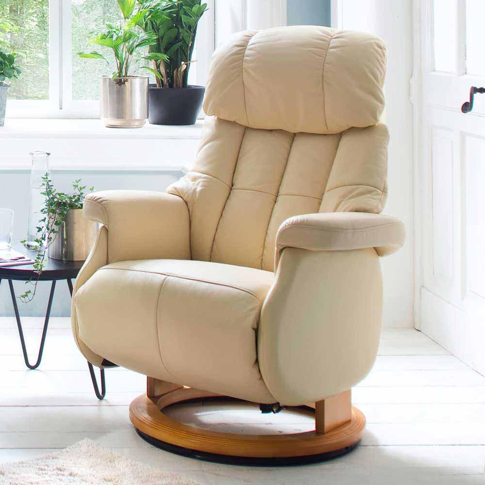 Leder Fernsehsessel in Creme Weiß elektrisch | Wohnzimmer > Sessel > Fernsehsessel | TopDesign